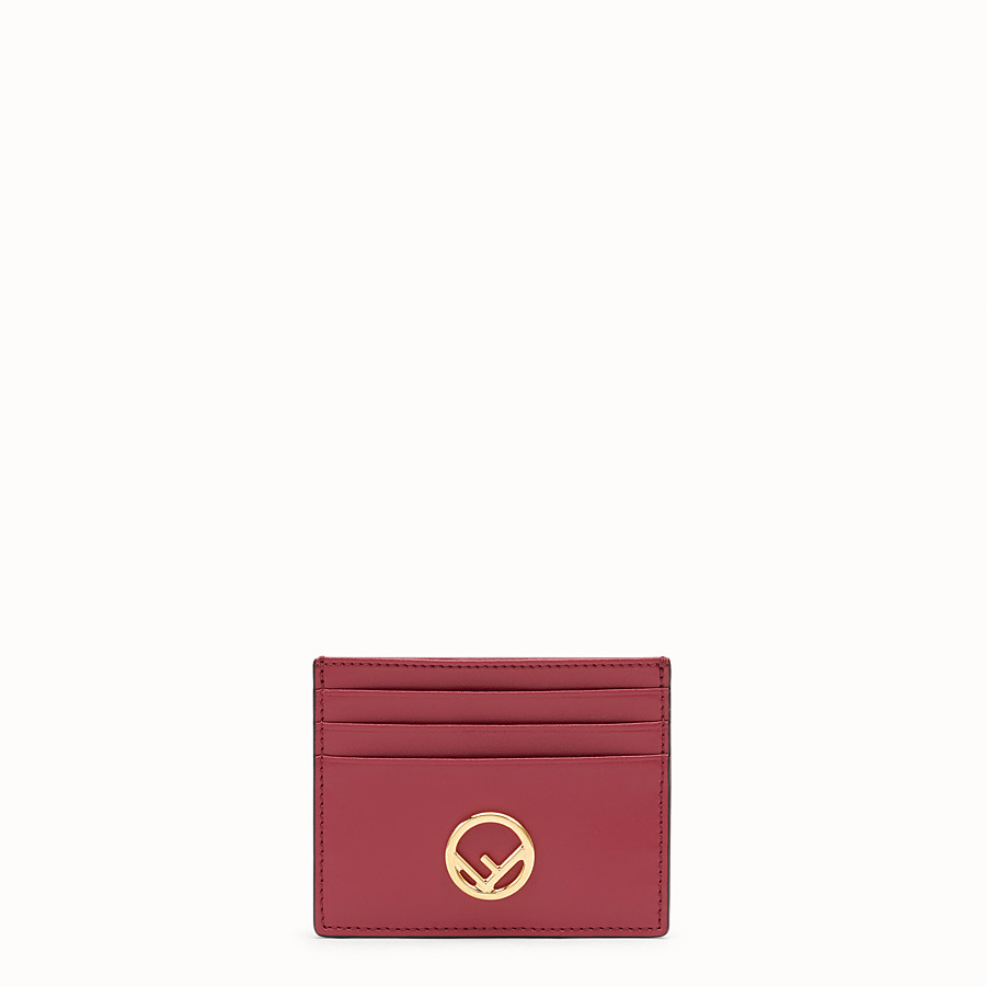 FENDI CARD HOLDER - Flat red leather card holder - view 1 detail