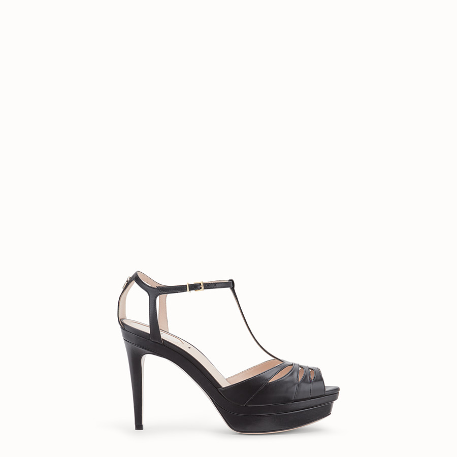 FENDI SANDALS - Black leather high sandals - view 1 detail