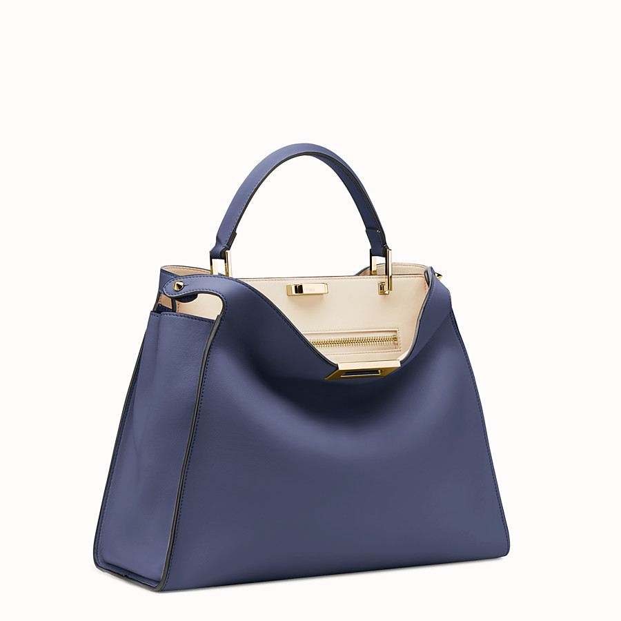FENDI PEEKABOO ESSENTIAL - Blue leather bag - view 2 detail