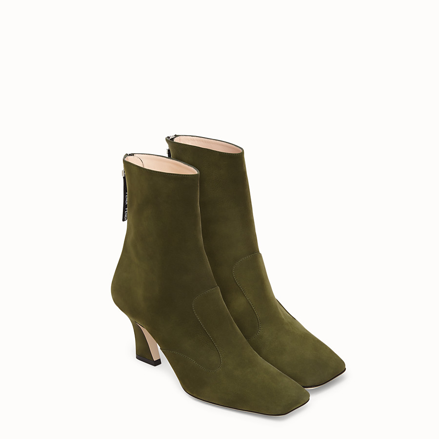 FENDI BOOTS - Booties in green nubuck leather - view 4 detail