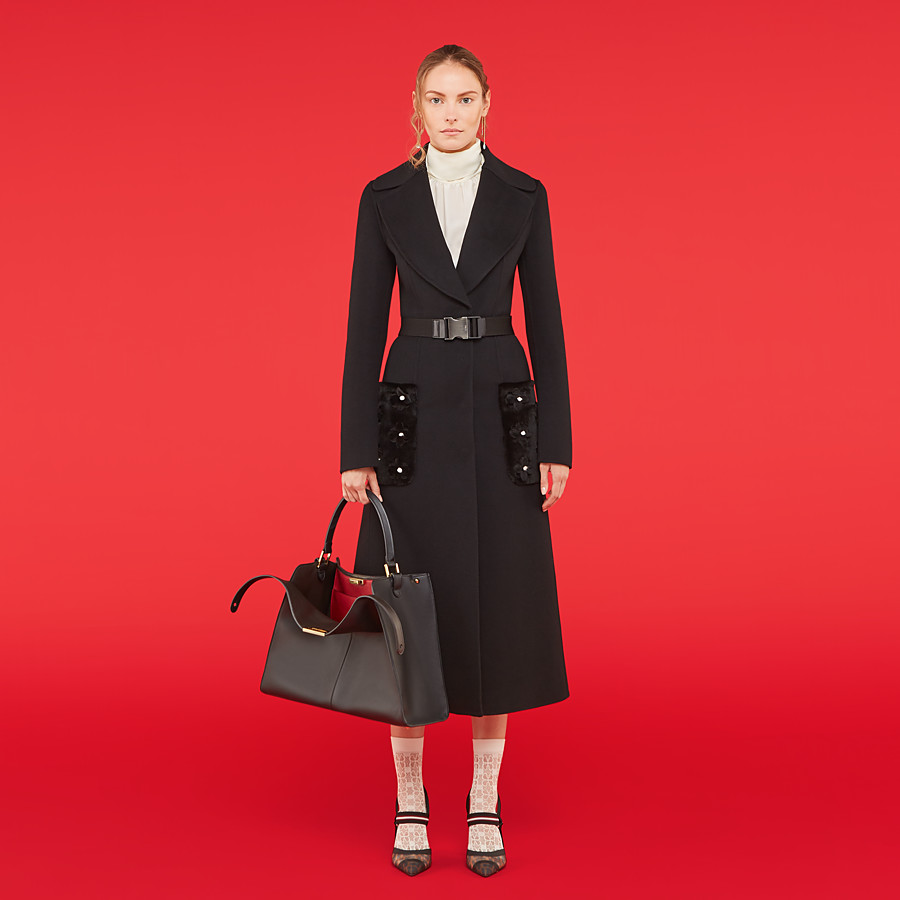 FENDI OVERCOAT - Black cashmere coat - view 4 detail