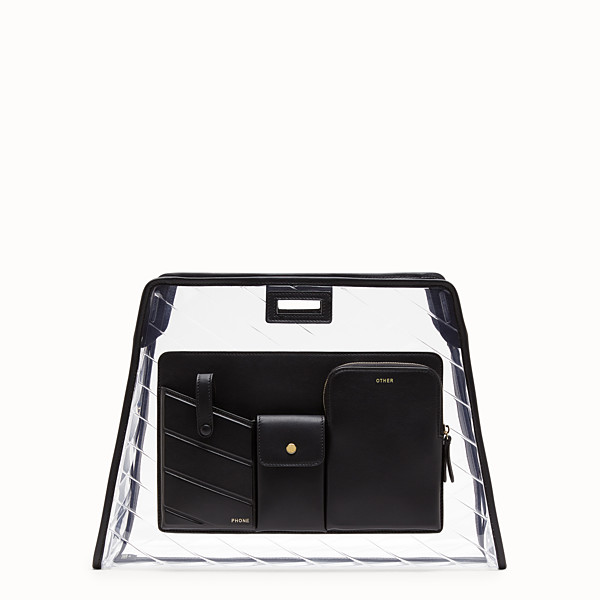 FENDI MEDIUM PEEKABOO DEFENDER - Peekaboo black leather bag cover. - view 1 small thumbnail