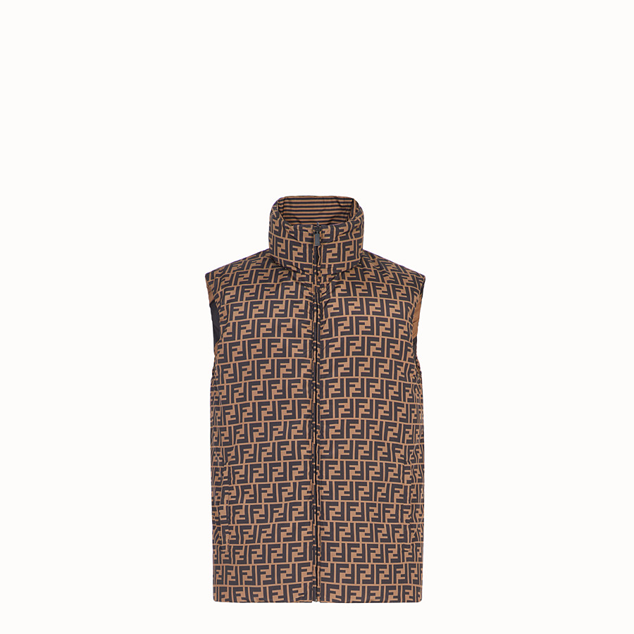 FENDI GILET - Brown nylon gilet - view 1 detail