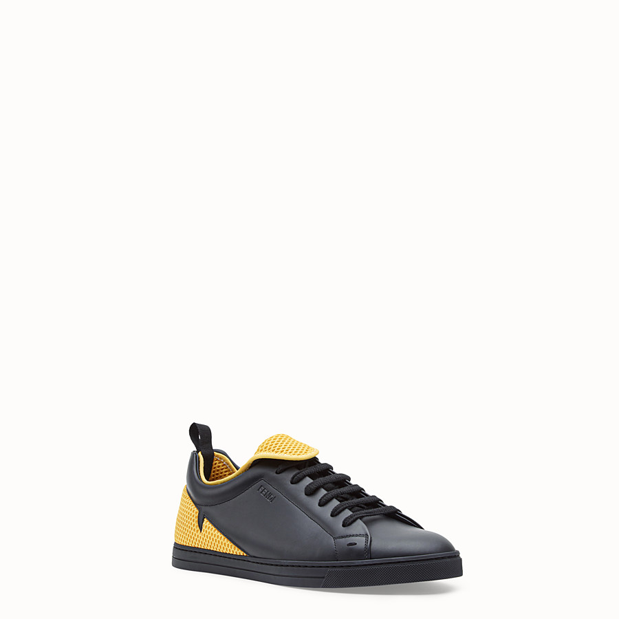 FENDI SNEAKERS - Black leather low-tops - view 2 detail