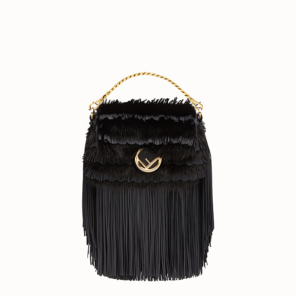 FENDI MICRO BAGUETTE - Micro-bag in black leather and mink - view 1 small thumbnail