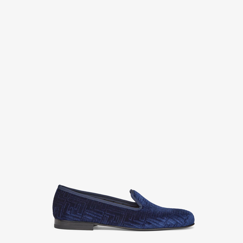 FENDI SLIPPERS - Blue velvet slippers - view 1 detail