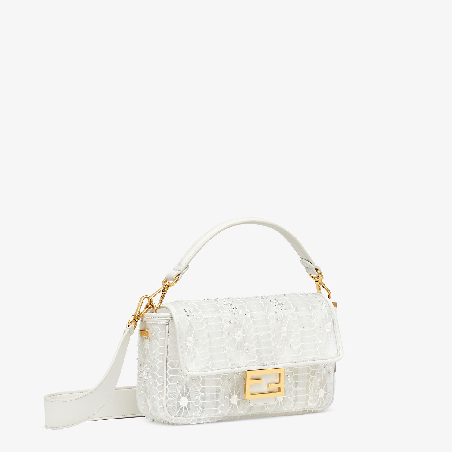 FENDI BAGUETTE - Embroidered white tulle bag - view 2 detail