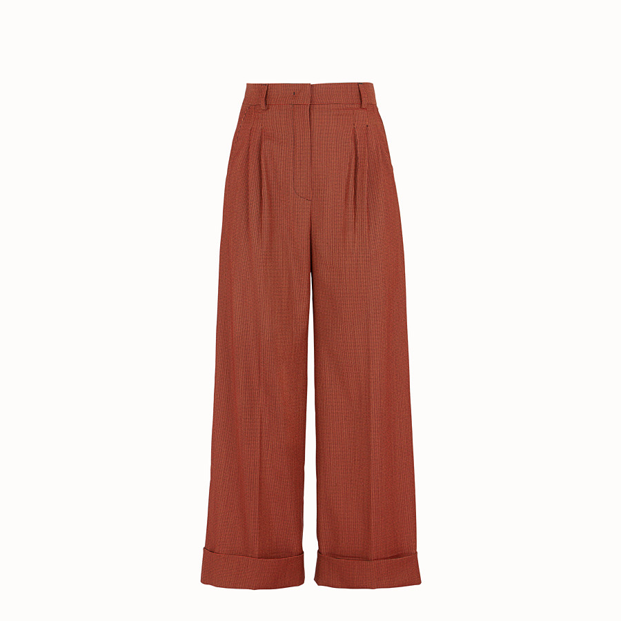 FENDI TROUSERS - Orange jacquard trousers - view 1 detail