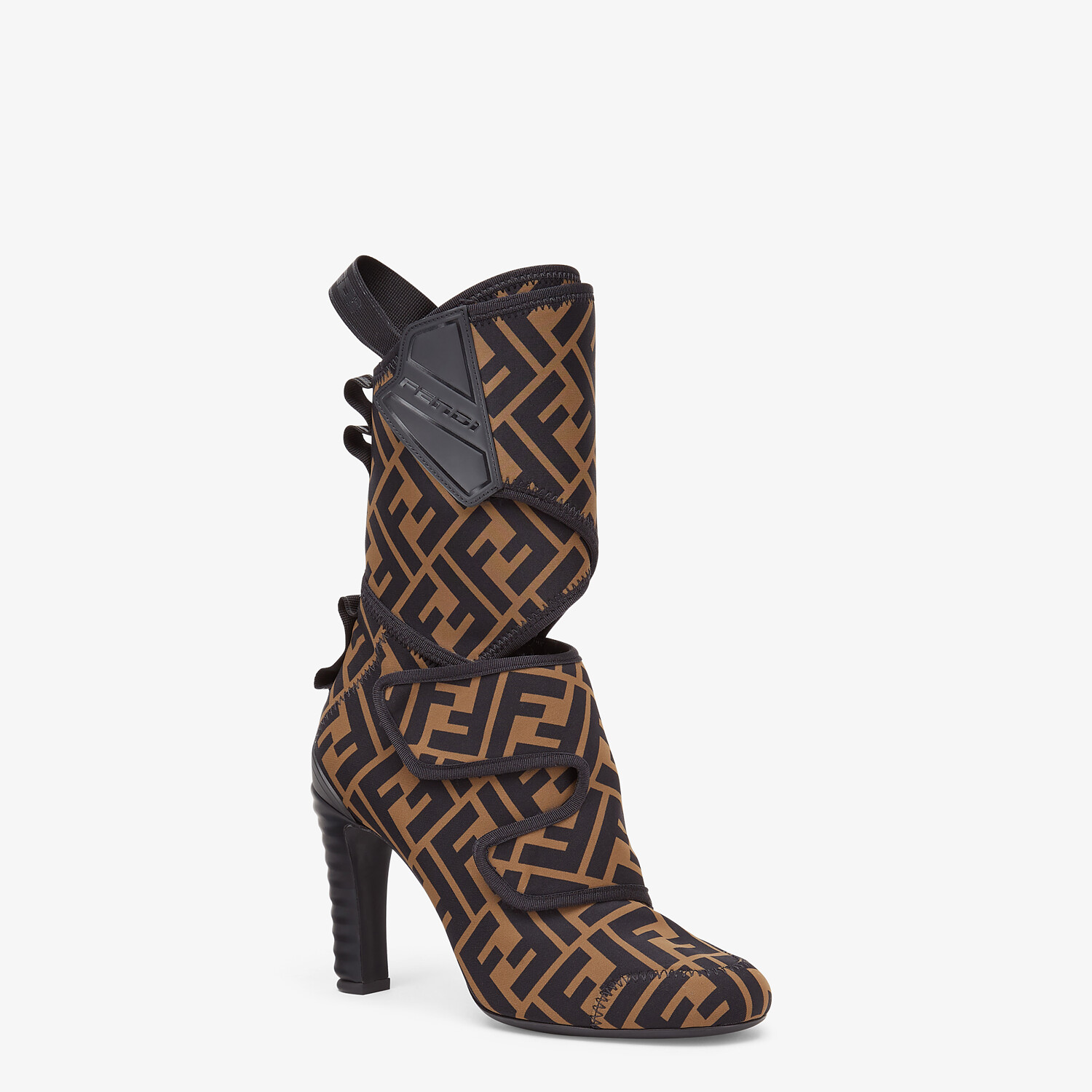 FENDI ANKLE BOOTS - Brown fabric Promenade Booties - view 2 detail