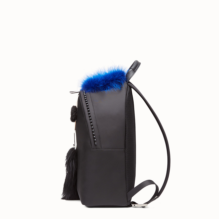 FENDI BACKPACK - in black nylon and fur - view 2 detail