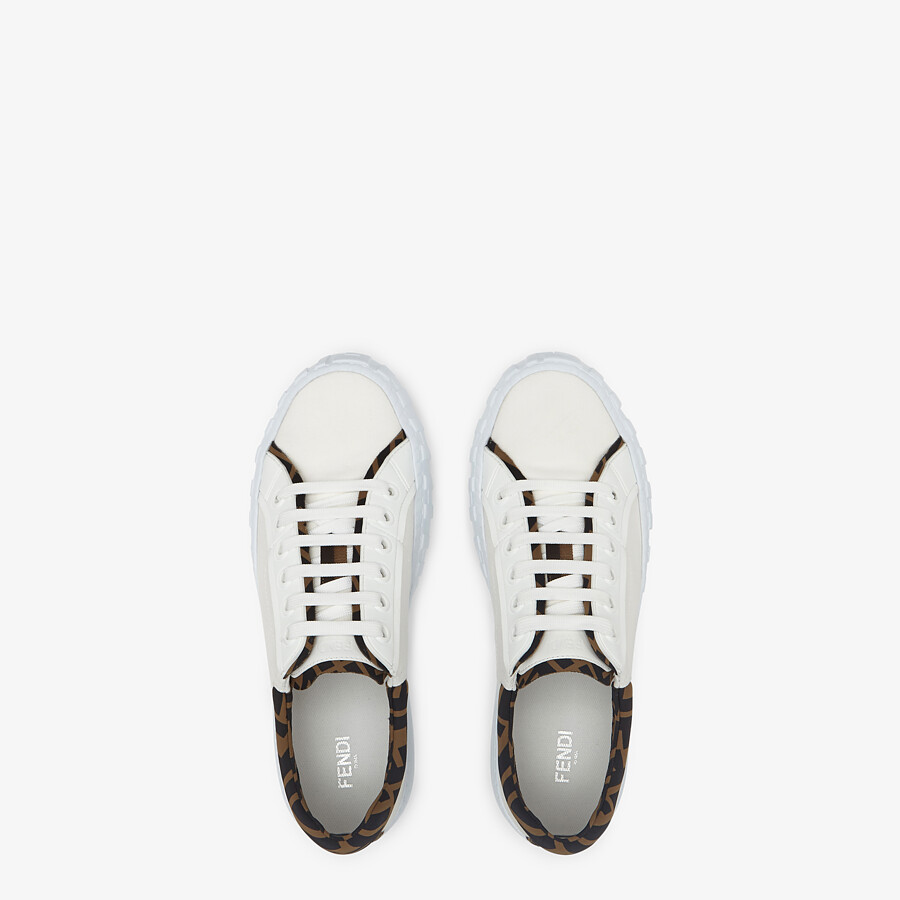 FENDI SNEAKERS - White canvas low-tops - view 4 detail