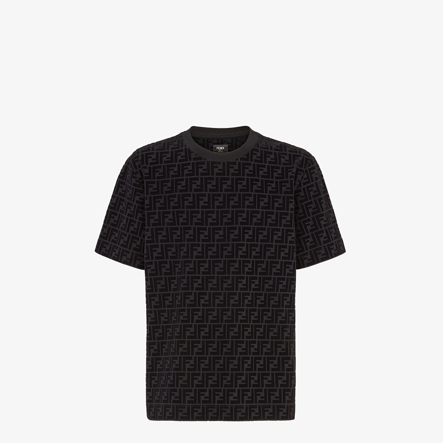 FENDI T-SHIRT - T-shirt in black piqué - view 1 detail