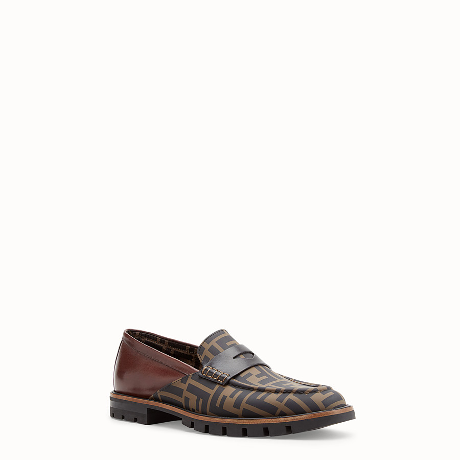 FENDI LOAFERS - Brown leather and TPU loafers - view 2 detail