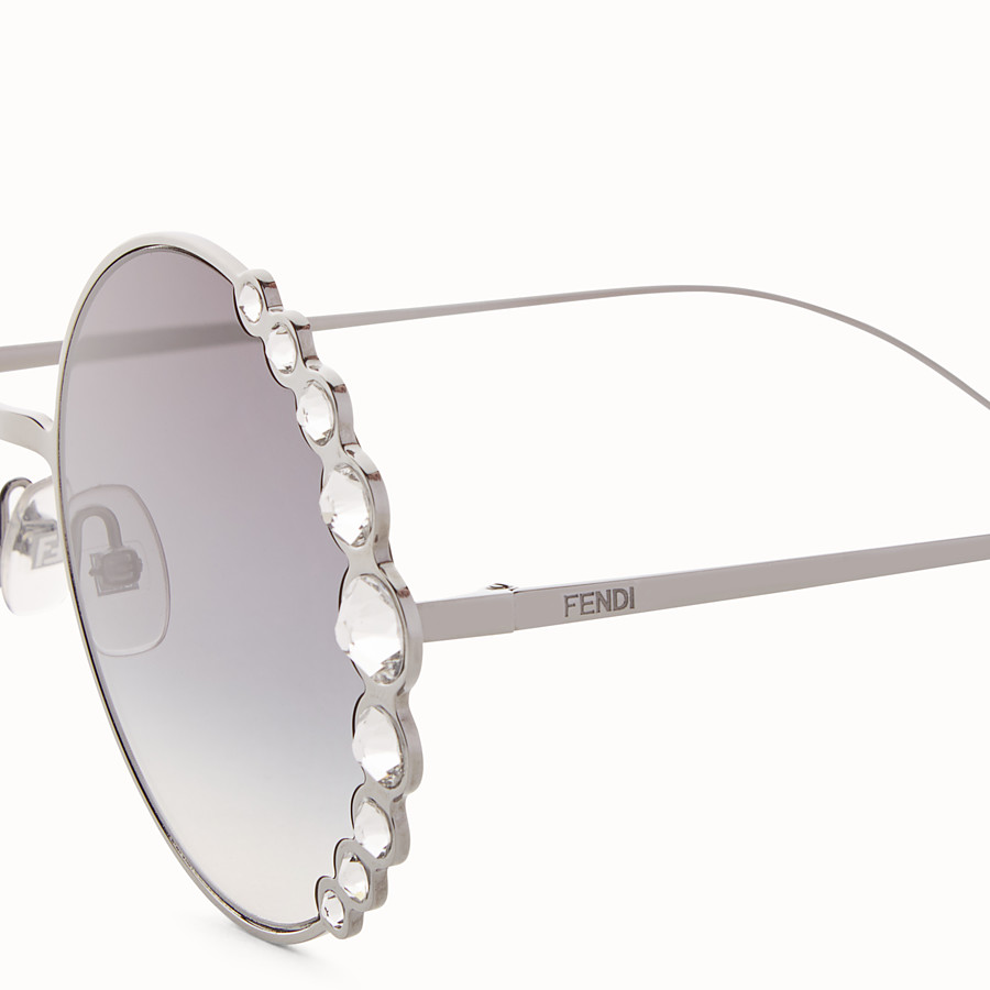 FENDI RIBBONS & CRYSTALS - Ruthenium-coloured sunglasses - view 3 detail