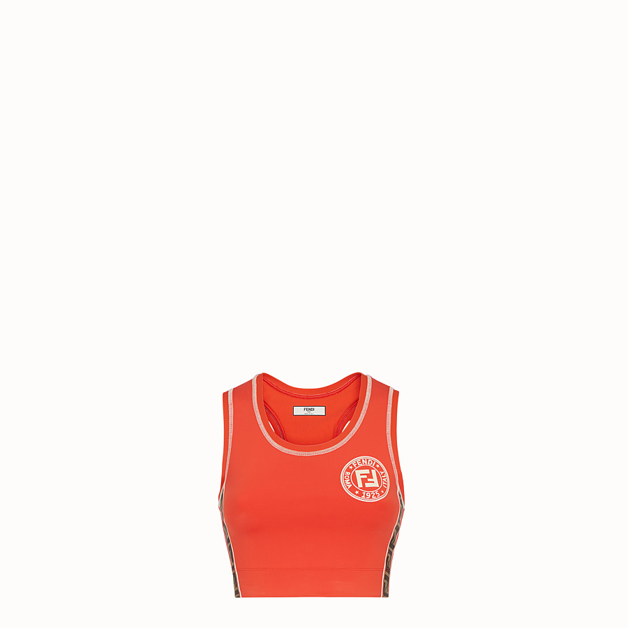 FENDI SPORTS TOP - Orange fabric fitness knit - view 1 detail