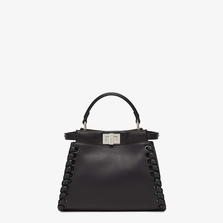 FENDI PEEKABOO ICONIC MINI - black nappa handbag with weave - view 1 detail