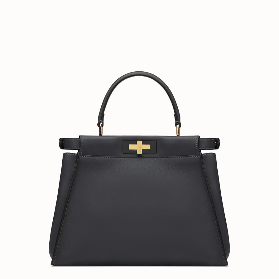 FENDI PEEKABOO REGULAR - Black leather handbag - view 4 detail