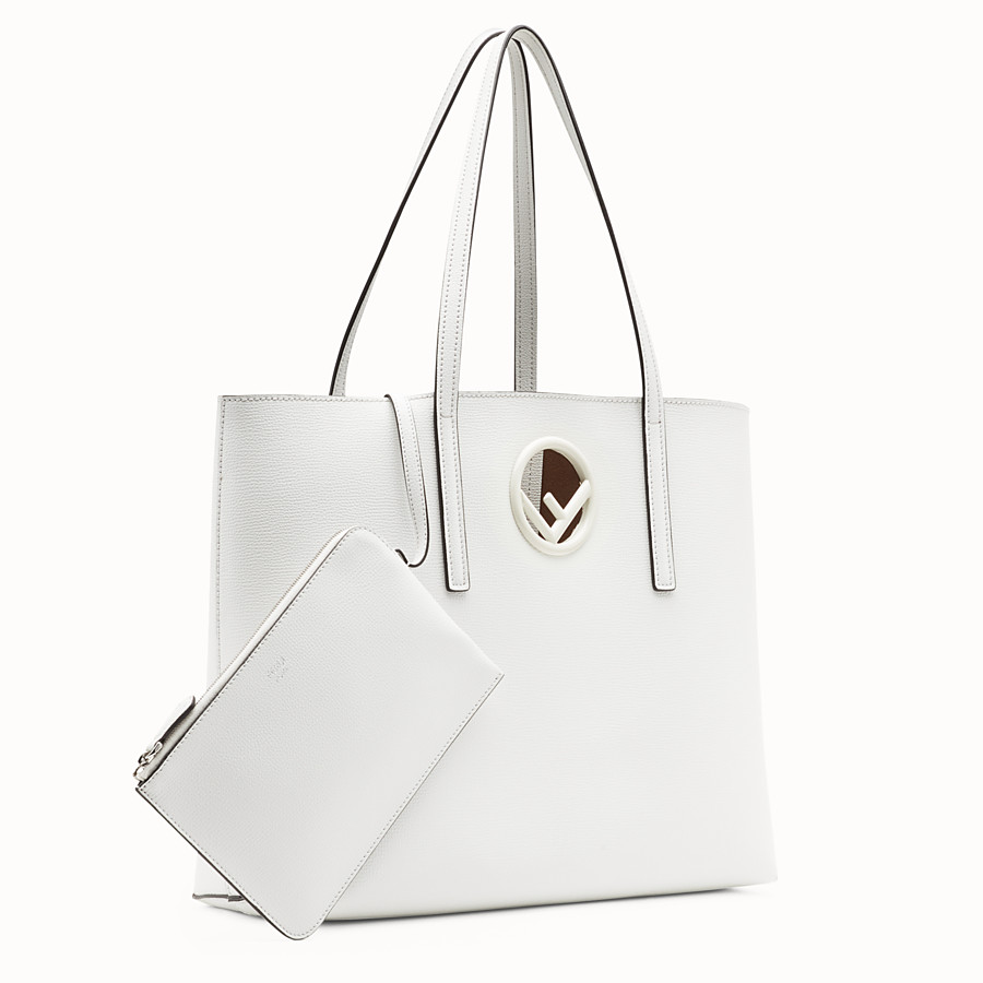 FENDI SHOPPING LOGO - White leather shopper bag - view 2 detail
