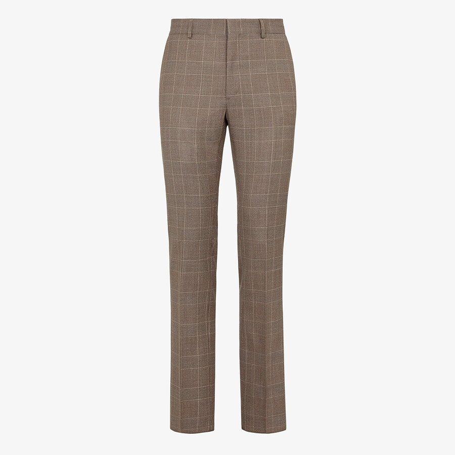 FENDI TROUSERS - Prince of Wales check wool trousers - view 1 detail