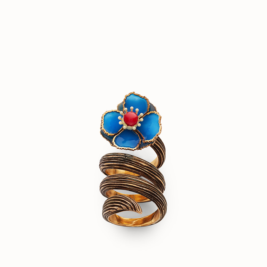 FENDI FLOWER RING - Blue enameled ring - view 1 detail