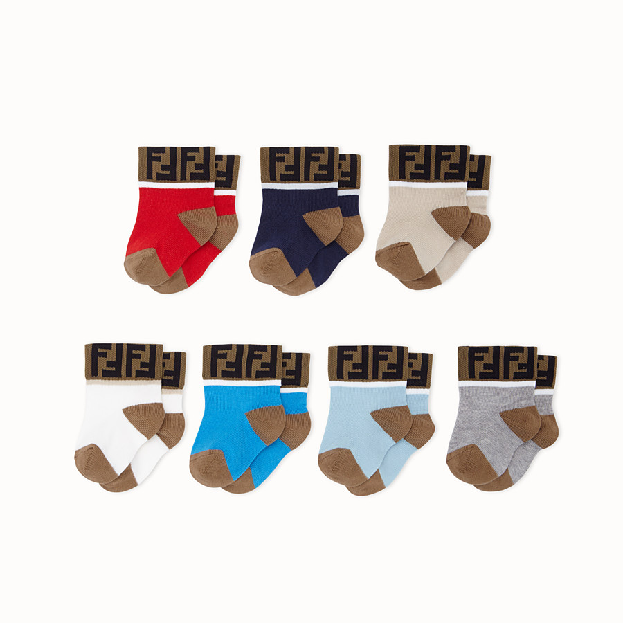 FENDI 7 PAIRS OF SOCKS - 7 pairs of multicolour cotton socks - view 1 detail
