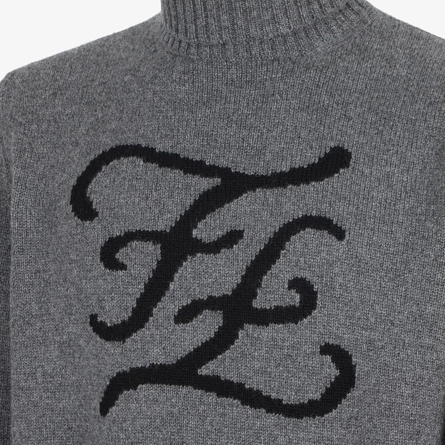 FENDI TURTLENECK - Blue cashmere jumper - view 3 detail
