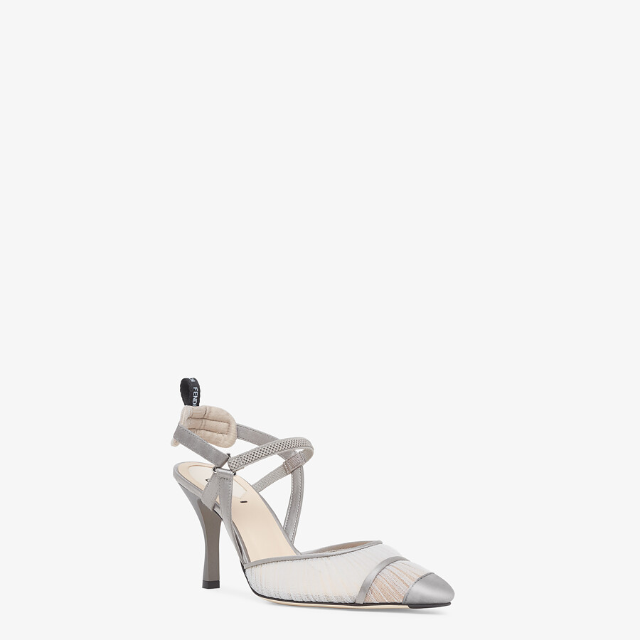 FENDI SLINGBACK - Grey tulle and satin Colibrì - view 2 detail