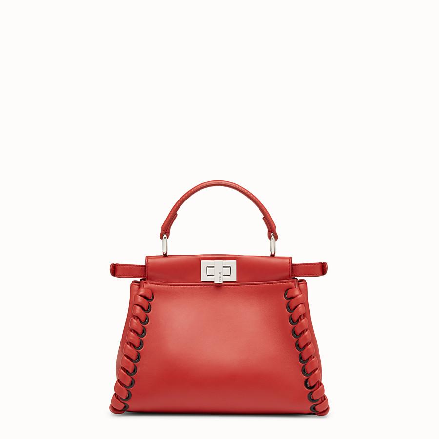 FENDI 迷你款式 PEEKABOO - 紅色軟皮手提包,裝飾編織皮條。 - view 3 detail