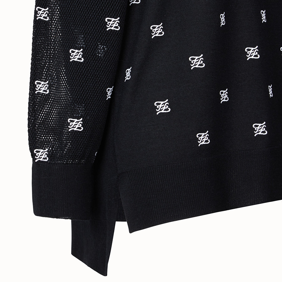FENDI PULLOVER - Black wool and silk jumper - view 3 detail