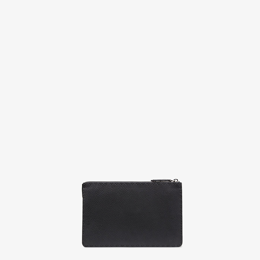 FENDI CLUTCH - in black Roman leather with inlay - view 3 detail