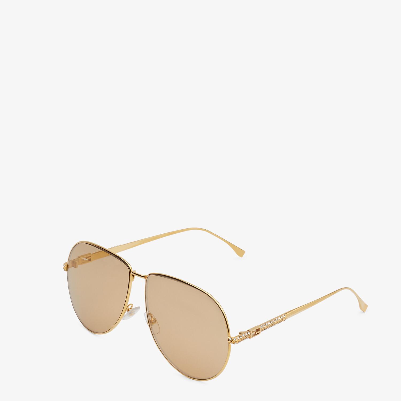 FENDI BAGUETTE - Gold-colored sunglasses - view 2 detail