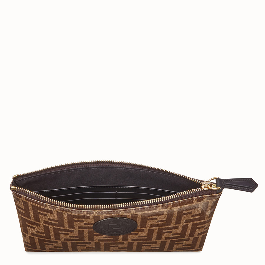 FENDI MEDIUM FLAT POUCH - Brown fabric pouch - view 3 detail