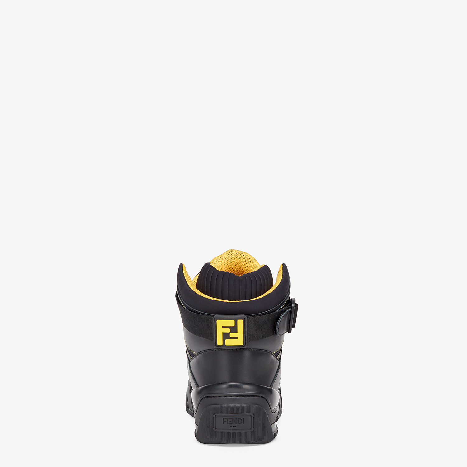 FENDI SNEAKERS - Black leather high-tops - view 3 detail