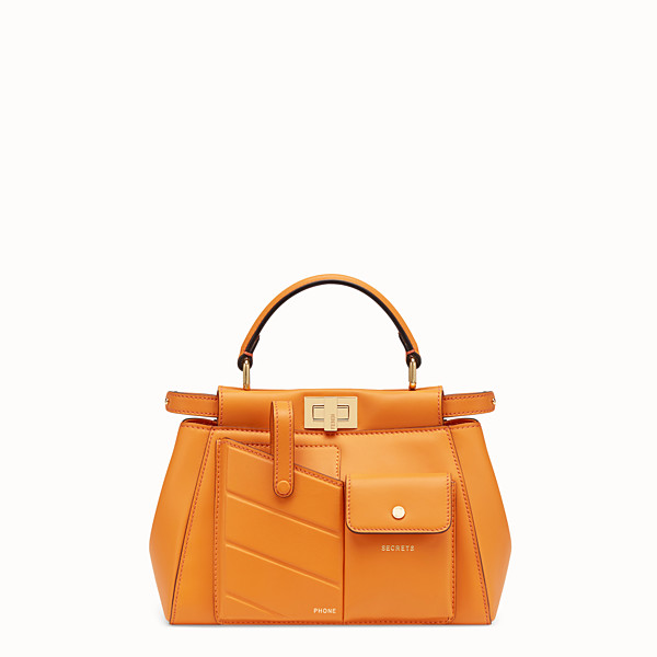 FENDI PEEKABOO MINI POCKET - Orange leather bag - view 1 small thumbnail