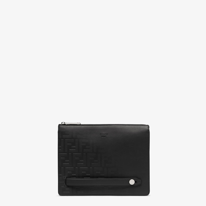 FENDI CLUTCH - Black calf leather pochette - view 1 detail
