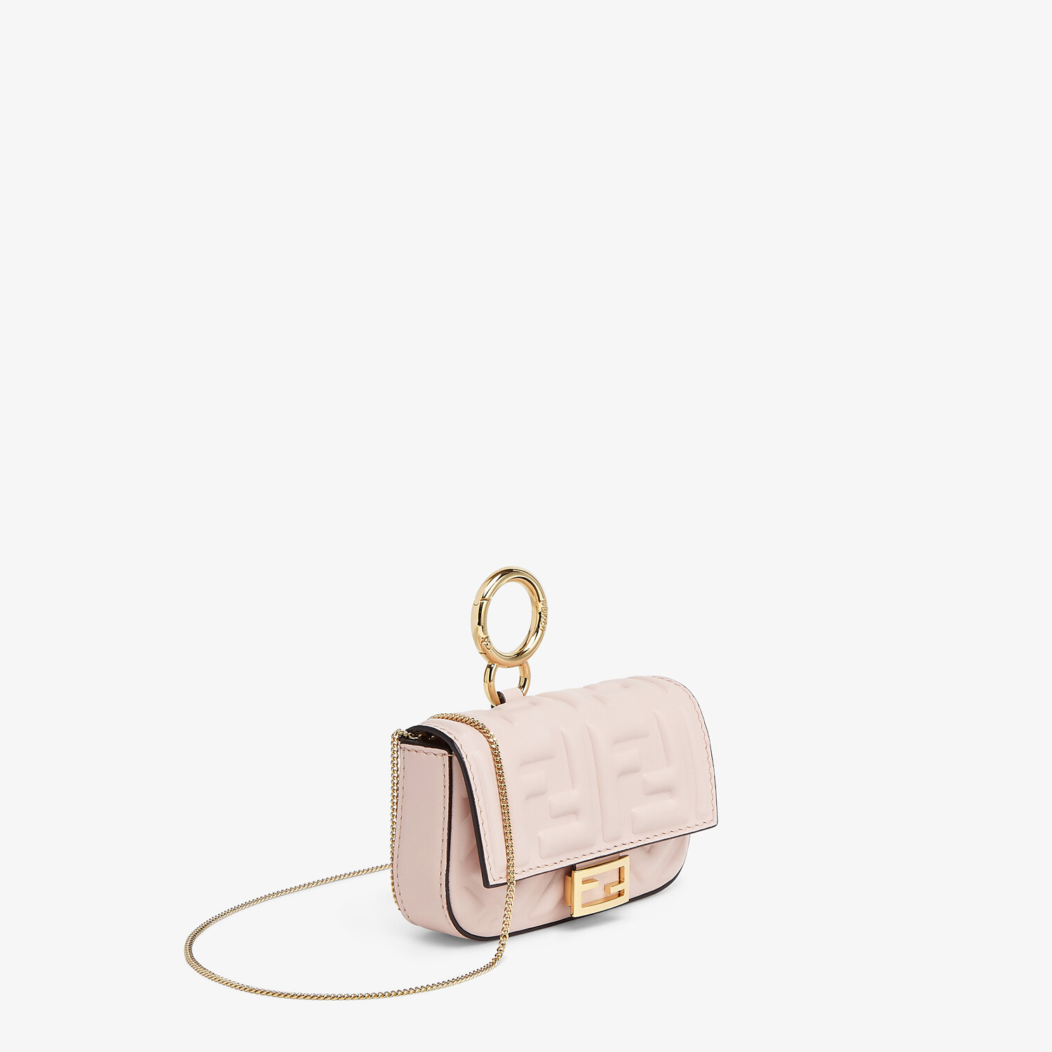 FENDI NANO BAGUETTE CHARM - Charm in pink nappa leather - view 2 detail