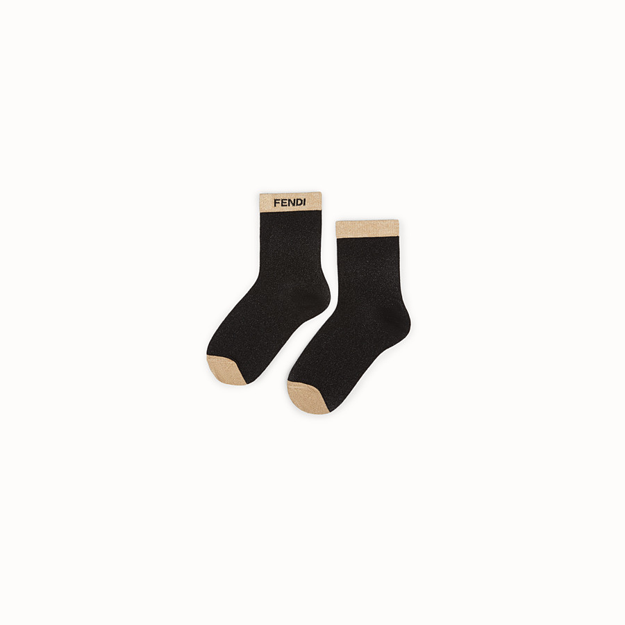 FENDI SOCKS - Black cotton and Lurex socks - view 1 detail
