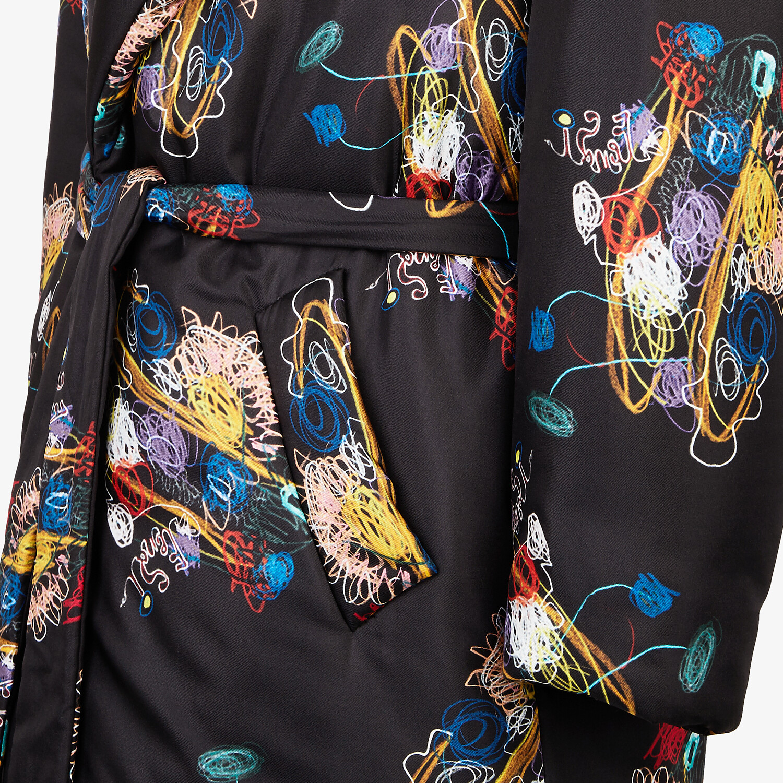 FENDI COAT - Black silk coat - view 3 detail