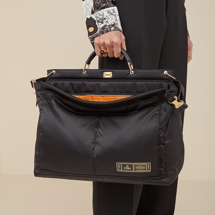 FENDI PEEKABOO MEDIUM FENDI AND PORTER - Black nylon bag - view 6 detail