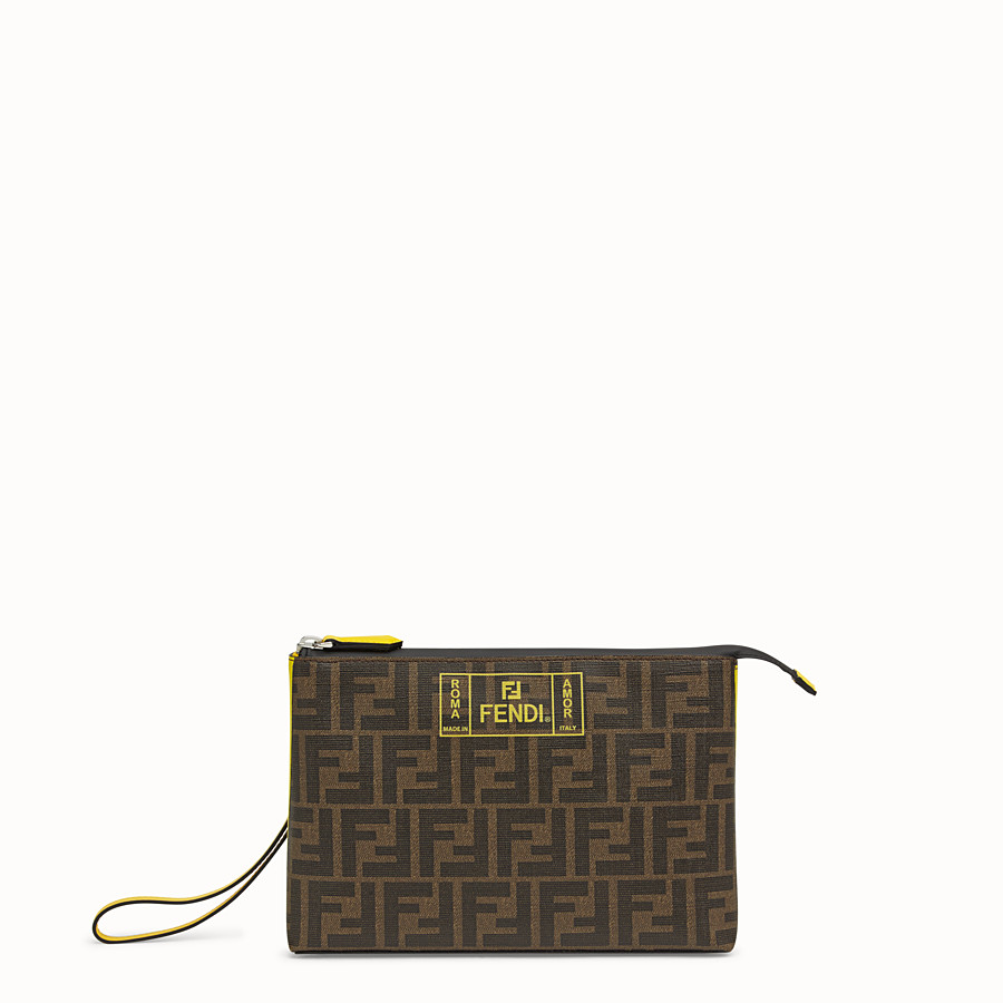 FENDI POUCH - Brown PU pochette - view 1 detail