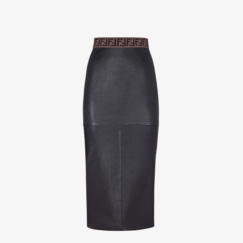 FENDI SKIRT - Black leather skirt - view 1 detail