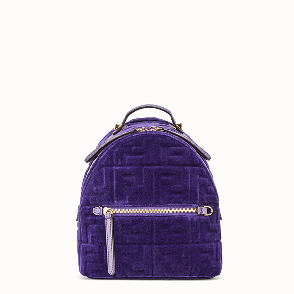 FENDI MINI BACKPACK - Small purple velvet backpack - view 1 small thumbnail