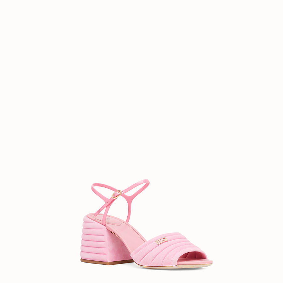 FENDI SLINGBACK - Pink suede sandals - view 2 detail