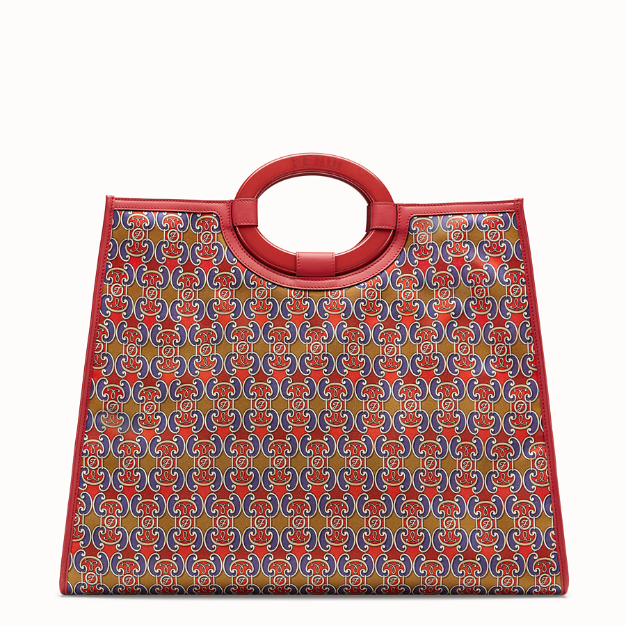 FENDI RUNAWAY SHOPPER - Multicolour satin shopper - view 3 detail