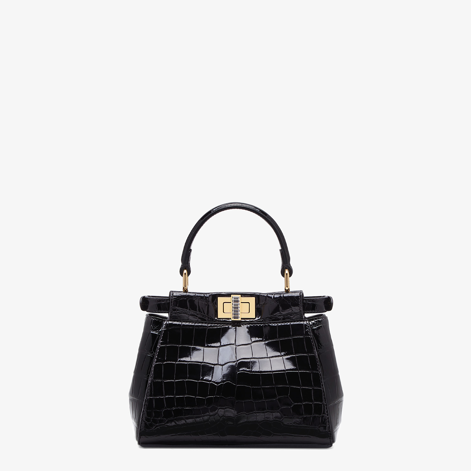 FENDI PEEKABOO ICONIC XS - Mini-bag in black crocodile - view 3 detail