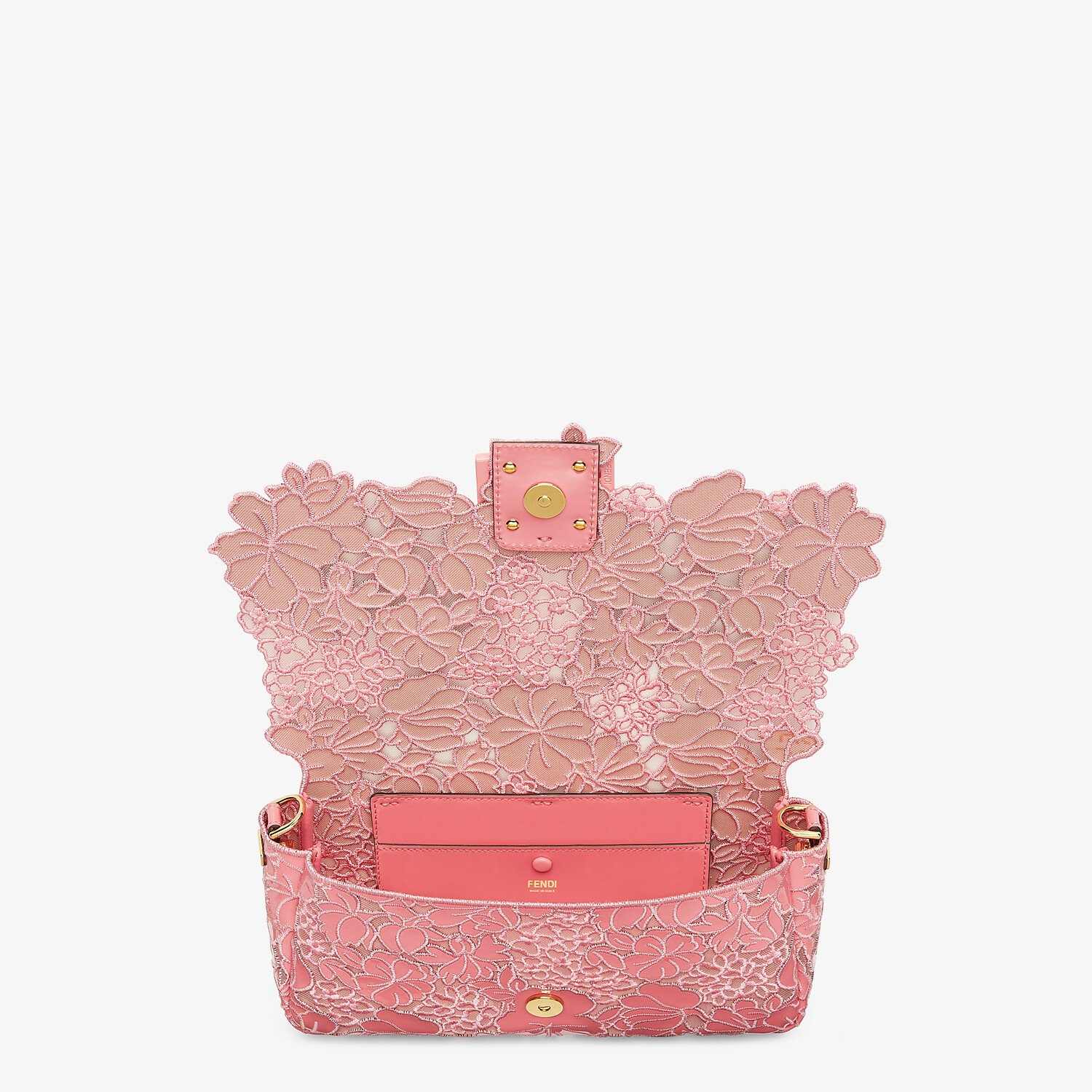 FENDI BAGUETTE - Embroidered pink patent leather bag - view 4 detail