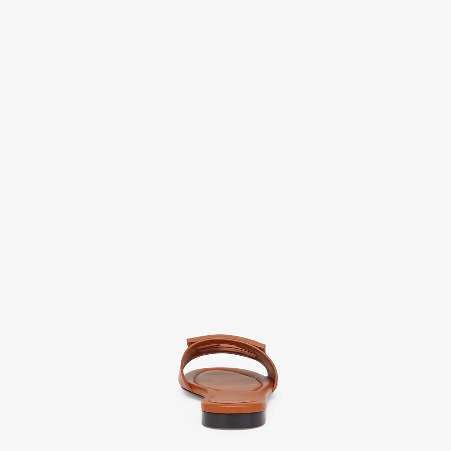FENDI SIGNATURE - Brown leather slides - view 3 detail