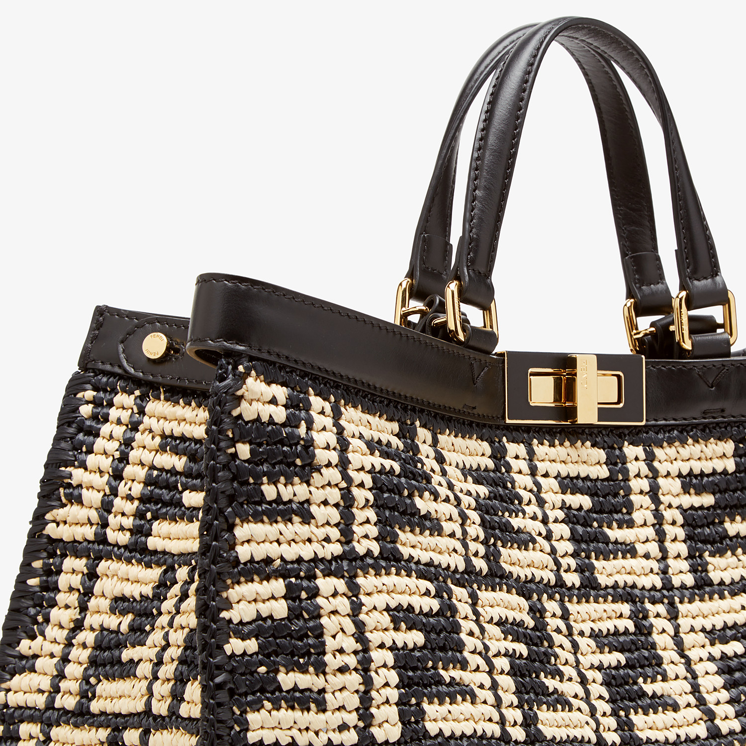 FENDI PEEKABOO X-TOTE - Black FF raffia bag - view 6 detail