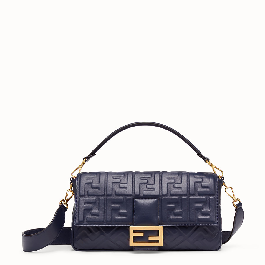 FENDI BAGUETTE LARGE - Blue nappa leather bag - view 1 detail