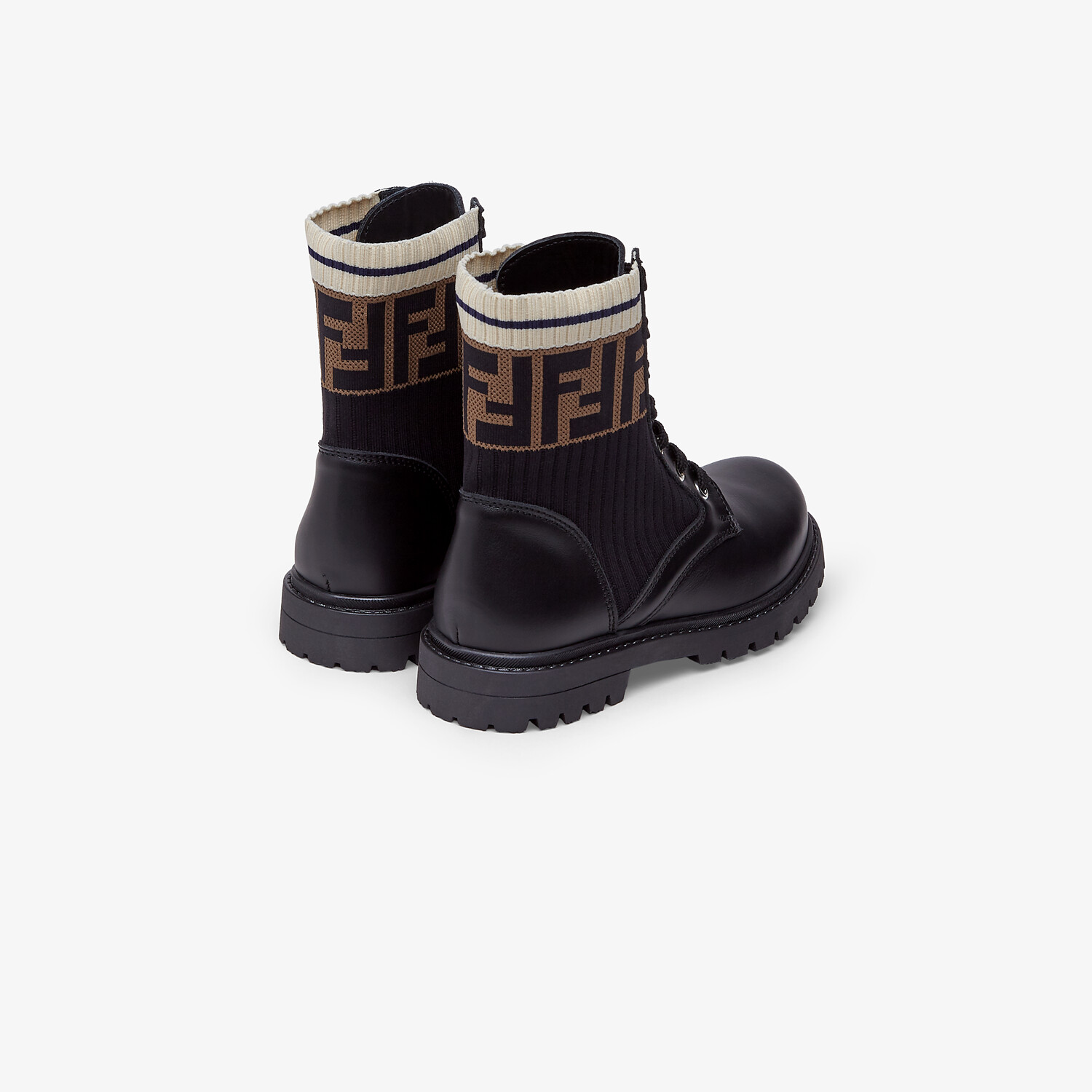 FENDI BIKER BOOTS - Unisex junior biker boots in leather and fabric - view 3 detail